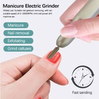 USB Power Supplys Mini Handheld Electric Grinder Drill Tool Nail Gelatum Removing Drill Manicure Machine Speed Adjustable Grinding Rotary Tool Kit with 6 Grinding Heads,model:Silver