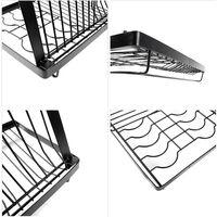 Dish Rack Over the Sink Dish Drying Rack Kitchen Rack Shelf Dish Drainer Stainless Steel Sink Organizer,model:Black