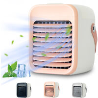 Portable Air Conditioner Rechargeable Air Cooler Fan Air Conditioner Fan with Function Cooling Humidifier Filtration 3 Speeds Colorful Night Light,model:Pink