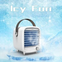 Portable Air Conditioner Fan Ice Fan Air Cooler Cooling Fan with Stepless Speed with Portable Handle for Home Office,model:White