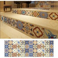 1PC Self Adhesive Retro Tile Stickers Waterproof PVC Removable Wall Stickers Decals DIY Wallpapers for Kitchen Bathroom Home Tidy Protection,model:Multicolor 9