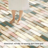 1PC Self Adhesive Wood Grain Retro Tile Stickers Waterproof PVC Removable Wall Stickers Decals DIY Wallpapers for Kitchen Bathroom Home Tidy Protection,model:Multicolor 9
