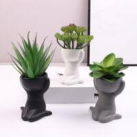 Humanoid Ceramic Flower Pot Succulent Pot Plant Small Vase Crafts Desktop Decoration YL1483-1,model:White type3