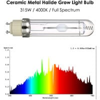 315W 4000K Horticultural Ceramic Metal Halide Grow Light Bulb Full Spectrum CMH Lamp Bulb for Greenhouse Hydroponic Plant Growing--110V