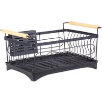Dish Rack Bowl Holder Stainless Steel Kitchen Sink Drying Shelf Cutlery Drainer Dish over Organizer Drain Rack with Chopsticks Cage,model:Black