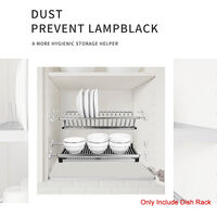 Modern 2-Tier Stainless Steel Folding Dish Drying Dryer Rack Plate Bowl Storage Organizer Holder for Cabinet Width 16.9-18.9in,model: 400mm