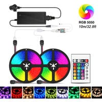 Wi-Fi RGB LED Strip Lights 32.8ft 300 LEDs with IR Remote Control & Wi-Fi Controller Smart APP & Voice Control & Timer Color Changing 5050 LED Lights for Room Ceiling Party (DC 12V/ 6A),model: UK 10m
