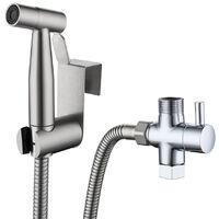 Handheld Bidet Sprayer for Toilet Baby Cloth Diaper Sprayer with Hose 7/8 Separator Bracket Stainless Steel Cleaner for Bathroom Toilet,model:Silver with American Standard Separator