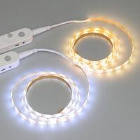 LED Strip Lights 6.56ft 6500K Cool White Tape Light with Motion Sensor Dimmable Ribbon Light Waterproof Flexible Undercabinet Tape Lighting Rope Lighting for Home Kitchen Under Cabinet Bedroom,model:White Cool White & 6.56ft & Internal Battery