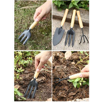 3PCS Garden Planting Tool Set Bonsai Succulent Transplanting Iron Rake Shovel Trowel Garden Planting Hand Tools for Home Garden,model:Black