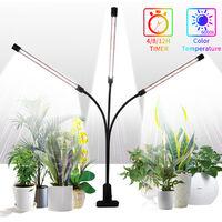 Grow Light for Plants LED Grow Light Plant Grow Light 60W with Clip Brightness Adjustable 4/8/12H Timing,model:Black