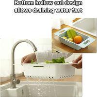 Collapsible Colander Over Sink Adjustable Sink Vegetable Basket Fruits Drain Basket Sink Kitchen Extendable Strainer Dish Drying Basket,model:White
