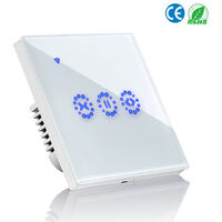 Curtain Switch Smart Wifi Remote Garage Doors Control Touched Switch Curtain Motor Blind Roller Shutter Timing Night Morning Bed Voice Control Electric Switch Phone Compatible with Alexa,model:White