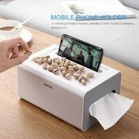 Desk Tissue Box Holder with Drawer Paper Towel Dispenser Mobile Phone Holder Desk Organizer Garbage Bags Paper Extraction Dispenser,model:Pink