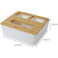 Desk Tissue Box Holder Paper Towel Dispenser Desk Organizer Storage Organizer Caddy Garbage Bags Paper Extraction Dispenser for Bathroom Vanity Countertop,model:White