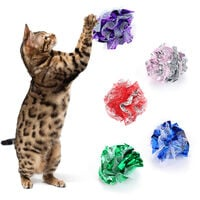 1 PCS Crinkle Ball Cat Toy Interactive Crinkle Balls for Small Cats Gauze Glitter Kitten Ball with Funny Crinkly Sounds (Random Color),model:Random Color