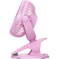 Portable Desk Fan Clip-on Fan Desktop Cooling Fan USB Rechargeable 3-Speed Adjustable Small Air Cooler Personal Fan for Office Home Use,model:Pink