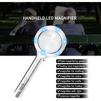Mini Portable Handheld 4X Magnifier Magnifying Glass Lens with LED Light for Reading Crafts Hobby Seniors Kids,model: 4X