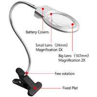 Pro Flexible Hands Free Magnifying Glass Desk Lamp Bright LED Lighted Magnifier with Clamp for Reading Cross Stitch,model:White