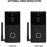 Wireless Intelligent Doorbell 720P Camera WiFi Visual Video Phone Door Bell 2-way Audio Video Doorbell Support Infrared Night View PIR Motion Sensor APP Remote Control,model:Black 720P