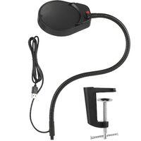 5X Magnifying Lamp with C Clamp Desk Light LED Magnifier Lamp C-clamp Magnifier with Dust Cover Reading Lamp USB Power Supply Brightness Adjustable Flexible Shaft,model:Black