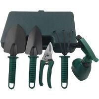 5pcs Household Garden Tool Sets Essential Gardening Tools Potted Gardening Starter Kit Trowels Pruning Shear 3-Teeth Rake Transplanting Tool Watering Can,model: 5pcs & Green