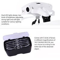 USB Rechargeable 2 LED Auxiliary Light Wearable Magnifier 5 Focus-length Adjustable Magnifying Loupe with 5 Replaceable Lenses 1X/1.5X/2X/2.5X/3.5X Magnification,model:Multicolor