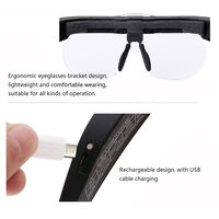 USB Rechargeable 2 LED Auxiliary Light Wearable Magnifier Magnifying Loupe with 4 Replaceable Lenses 1.5X/2.5X/3.5X/5X Magnification,model:Multicolor