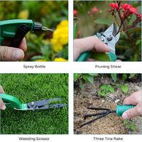 Garden Tool Set 10pcs Stainless Steel Garden Tool Kit with Organizer Case Heavy Duty Gardening Work Set Including Pruner, Rake, Big and Small Shovel, Sprayer, Weeding Scissor, Potted Gadget and More,model:Dark green