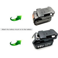 Lithium-Ion Batteries Storage Bracket Mount Battery Clip and Electric Tool Base Holder-One Set Replacement for BOSCH & Makita 18V Tool Battery,model:Black
