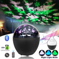 IR Remote Control BT Audio Portable Multifunction Projection Lamp Christmas Festival Party Gift for Kids Decoration,model:Multicolor