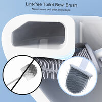 Flat Toilet Brush with Holder Silicone Toilet Bowl Cleaner Brush with Caddy Flexible Non-scratch TPR Bristles for Bathroom Easy Under Rim Cleaning,model:White