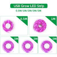 LED Grow Light Full Spectrum USB Grow Light Strip 1M 2835 SMD DC5V LED Phyto Tape for Seed Plants Flowers Greenhouses Indoor Vegetable Flower Seedling Fitolampy,model: 1M