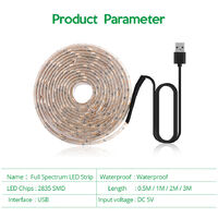 LED Grow Light Full Spectrum USB Grow Light Strip 2M 2835 SMD DC5V LED Phyto Tape for Seed Plants Flowers Greenhouses Indoor Vegetable Flower Seedling Fitolampy,model: 2M
