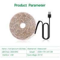 LED Grow Light Full Spectrum USB Grow Light Strip 3 Meter 2835 SMD DC5V LED Phyto Tape for Seed Plants Flowers Greenhouses Indoor Vegetable Flower Seedling Fitolampy,model: 3M