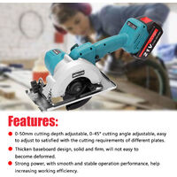 5inch 21V Electric Circular Saw High Power Lithium Battery Woodworking Tool Wood Board Marble Cutting Machine,model:Multicolor UK Plug