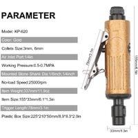 Mini Air Straight Die Grinder Set 25000RPM Pneumatic Air Polishing Rotary Tool Kit Equipped with 1/4-inch 1/8-inch Collets 2 Wrenches and 10pcs Abrasive Mounted Stone KP-620,model:Gold KP-620
