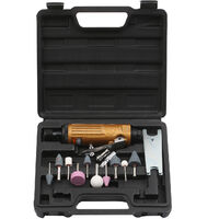 Mini Air Straight Die Grinder Set 22000RPM Pneumatic Air Polishing Rotary Tool Kit Equipped with 1/4-inch 1/8-inch Collets 2 Wrenches and 10pcs Abrasive Mounted Stone KP-621,model:Gold KP-621
