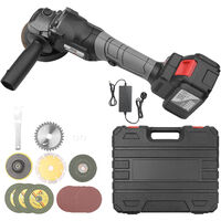 21V Brushless Angle Grinder Tool Mini Handheld Cordless Polishing Cutting Machine 100mm Variable Speed 4.0Ah Lithium-Ion Electric Heavy Duty Metal Cutter with Side Handle,model: UK Plug 398TV(4.0Ah) Battery 1pcs
