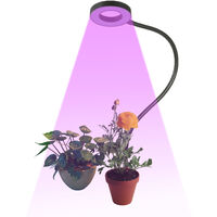 LED Grow Ring Light for Indoor Plants Red & Blue Spectrum USB Powered Inserted Plant Growing Lamps with Flexible Metal Hose for Succulent Plants Seedlings Flowers,model:Black Not Dimmable