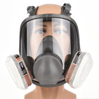Reusable Full Face Respirator Full Face Cover 18 in 1 Gas Cover Organic Vapor Respirator Wide Field of View for Painting Machine Polishing Welding and Other Work Protection,model:Dark green