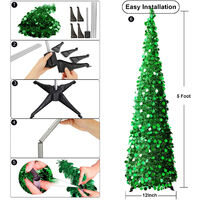 Christmas Decorating Product Collapsible Folding Christmas Ornamental Tree 1.5 Meters with Stand Sequin Pencil Tree for Apartment Home Store Holiday,model:Silver and Multicolor