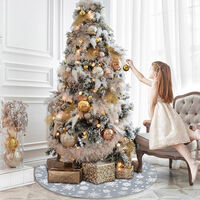 Christmas Tree Skirt Snow Flake Pattern, Snowflakes Xmas Tree Mat, 122CM Christmas Ornament Decoration, Festival Gift for Family,model:Grey