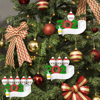 Christmas Decoration Gift Personalized Hanging Pendants Party Santa Claus Family Hanging Ornament Xmas Tree Hanging Pendant,model: A family of 5