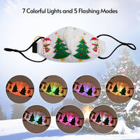 Christmas LED Rave Mask 7 Colors Light Up Face Mask USB Rechargeable Reusable Glowing Luminous Adults Dust Mask for Christmas Party Festival Celebrations,model:White