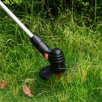 Cordless Electric Lawn Mower Handheld Portable Lightweight Mowing Machine Trimmer Rechargeable Electric Mower Weed Eater with 4 Plastic Blades & 1 Stainless Steel Blade,model: UK Plug
