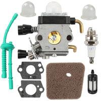 Carburetor with Air Filter Fuel Line Gasket Spark Plug Kit for STIHL FS38 FS45 FS46 FS55 KM55 FS85