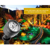 4PCS 4 LEDs RGB Outdoor Light Lawn Lamp Kit Set with Remote Controller Line Control Rotatable Illumination Angle IP65 Water Resistance Dimmable Brightness Spped Adjustable 2 Diverse Lighting Effects 3 Levels Timer T-ime Setting Timing for Patio Courtyard