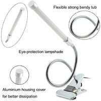 Lixada USB Clamp LED Desk Table Lamp Adjustable Clip-on Flexible Gooesneck Light 6W 18LED Eye Protection with Switch for Reading Study Bed Laptop,model:Warm white