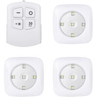 4.5v 1W 5LED Square Puck Light 3 Pack with Remote Controller Wireless Touch Sensor Control Night Lamp Brightness Adjustable/Dimmable /Timer Timing Time Setting/ Under Cabinet Lighting Battery Powered Operated for Cabinet Wall Stairs Front Door Cupboard Wa